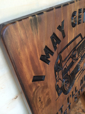 close up of custom jeep sign
