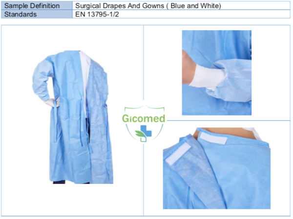 Hospital Gowns Disposible LEVEL 2 Surgical Gowns and Draps (Blue and White)