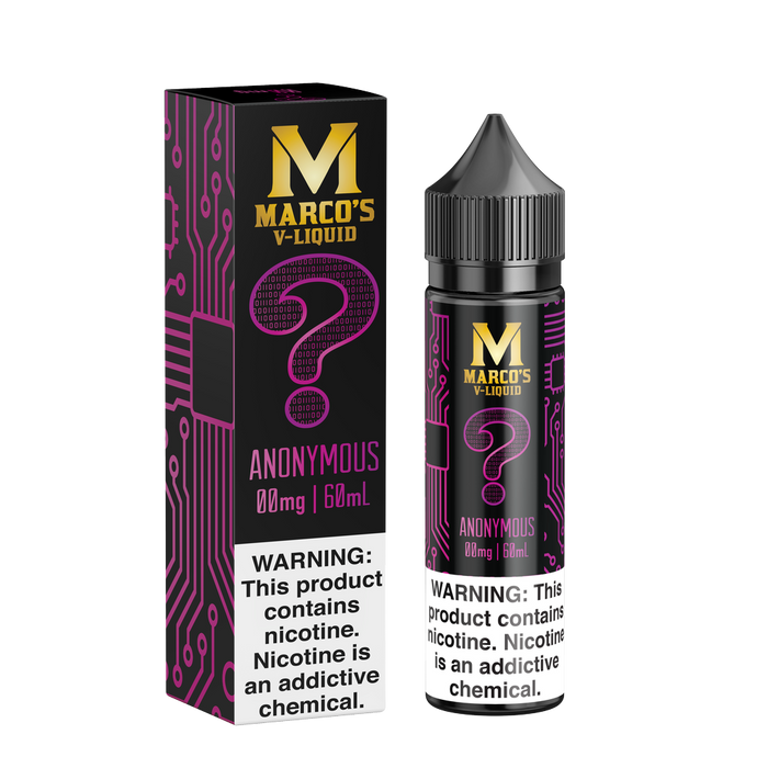 Anonymous by Marco's V-Liquid 60ml - 120ml.co - Premium Large Format eJuice and Vapor Products
