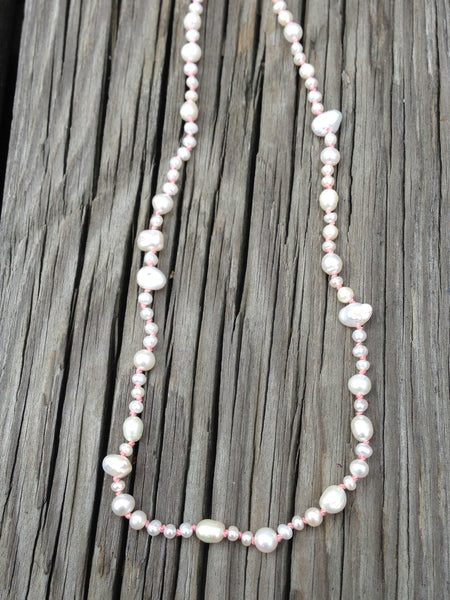 Mixed Pearls on Baby Pink Silk