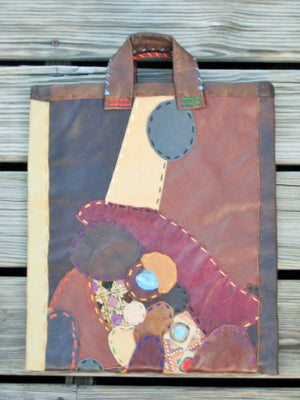 Shopper Pouch of Recycled Leather and Antique Textiles