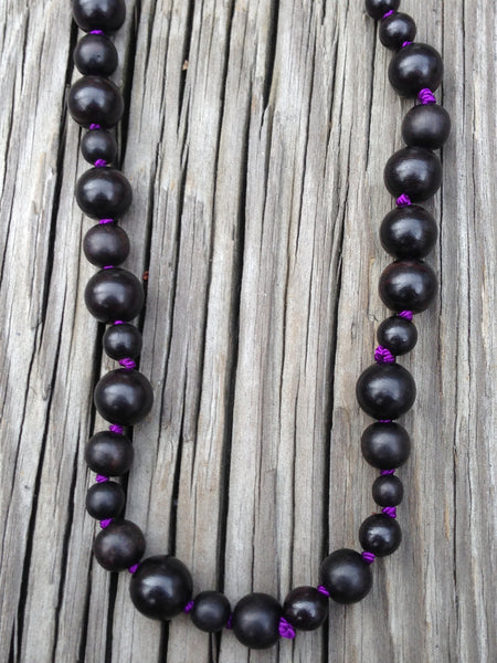 Mixed Ebony Wood Beads on Knotted Silk