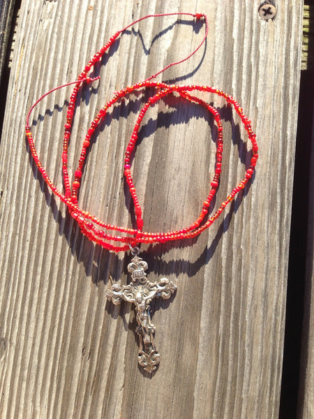 Antique Cross with Vintage Beads Necklace
