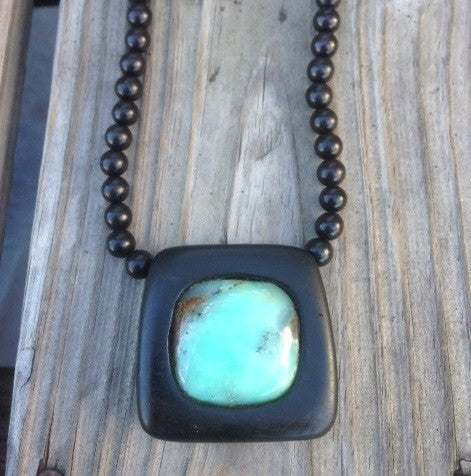 Chrysoprase and Ebony  Pendant Necklace