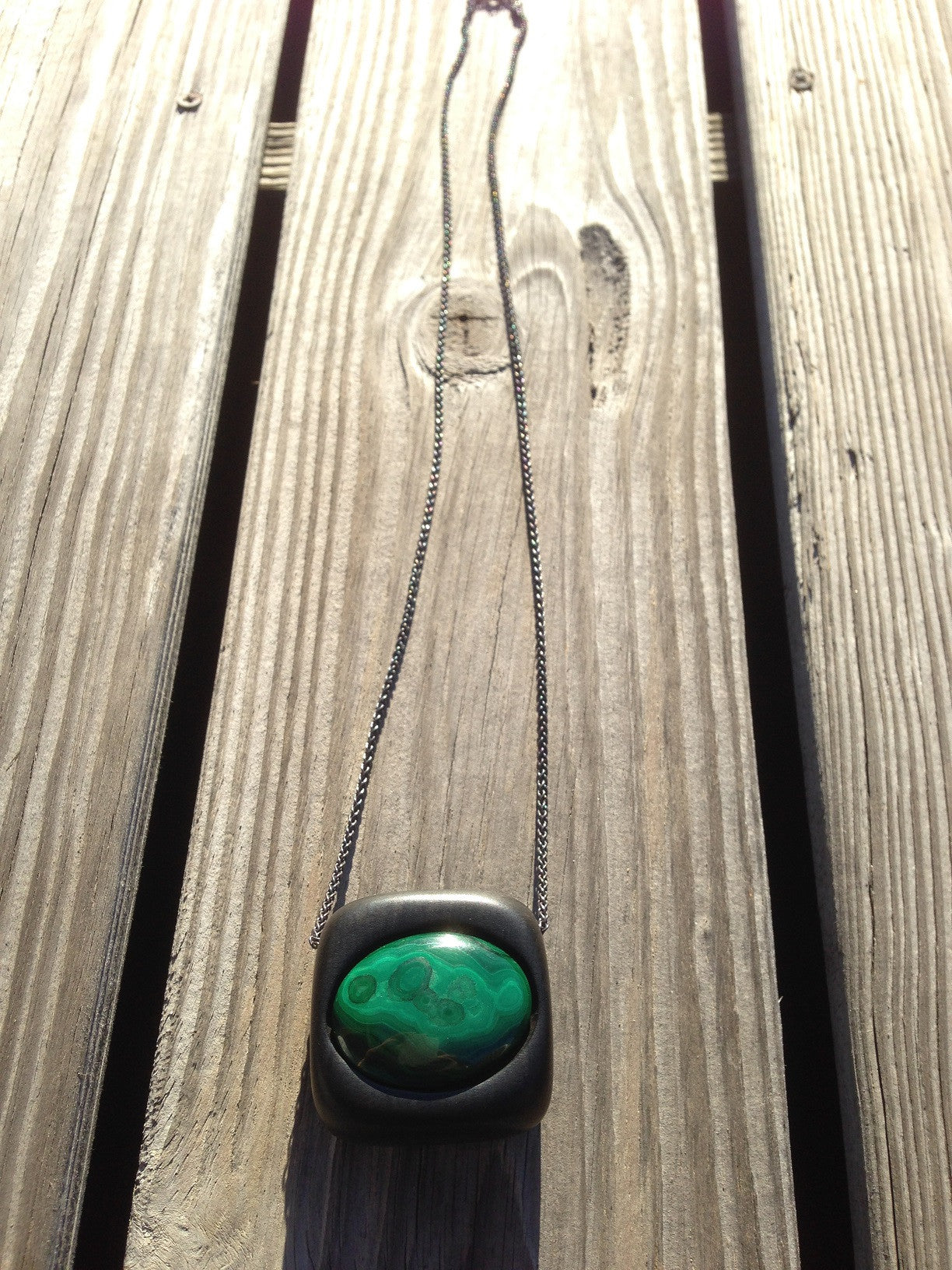 Ebony and Malachite Pendant