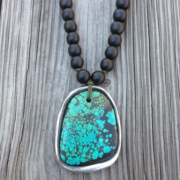 Turquoise and Oxidized Sterling Silver with Ebony Beads