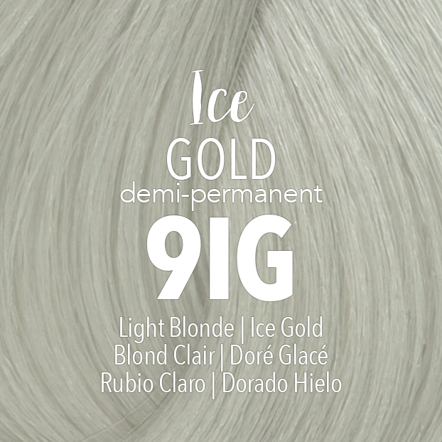 Mydentity Demi-Permanent Haircolor 2 oz Ice Gold 9IG Light Blonde Swatch