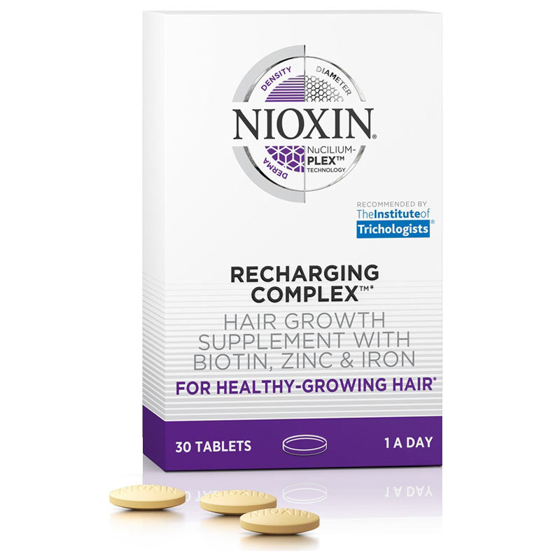 Nioxin Recharging Complex Hair Growth Supplement with Biotin, Zinc, Iron 30 Tablets