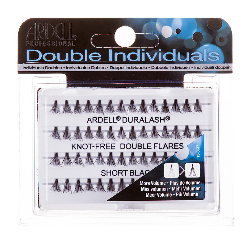 e5ca4d0802a Ardell Professional Double Individual Duralash Knot-Free Double Flares  Short Black 56 Individual Lashes ...