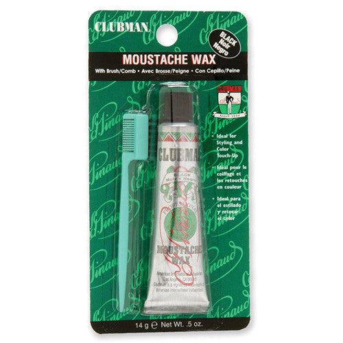 Clubman Moustache Wax with Brush/Comb, BLACK