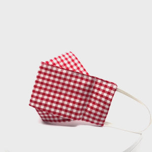 Red Gingham Cotton Face Mask. Elastic ear loops , nose wire. Made in Houston.