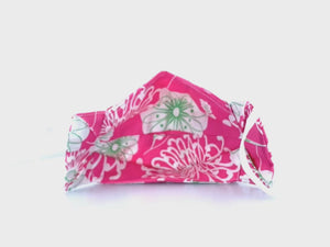 Pink White Green Flower, West Palm Floral, Cotton Face Mask with Straw Hole. Elastic ear loops , nose wire. Made in Houston. Perfect for coffee runs, happy hours with friends and family gatherings.