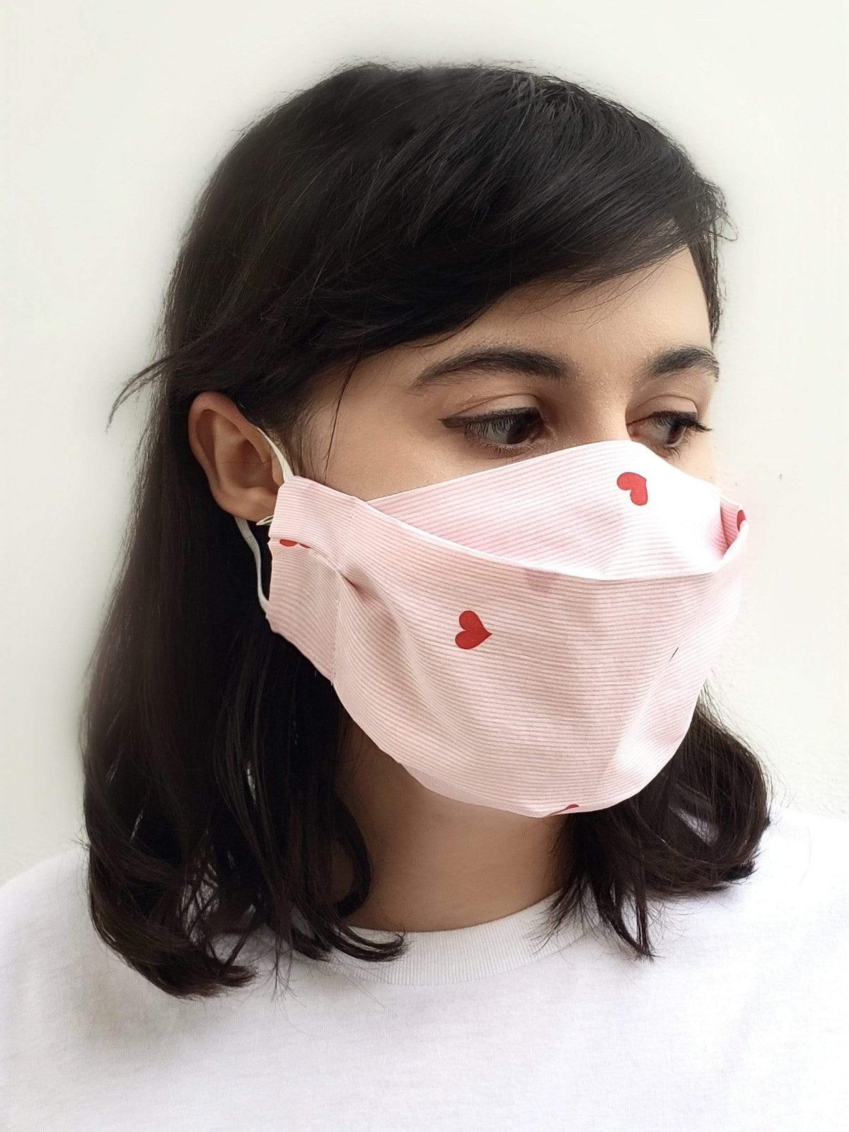 Pink heart Cotton Face Mask with Elastic ear loops , nose wire. Made in Houston.