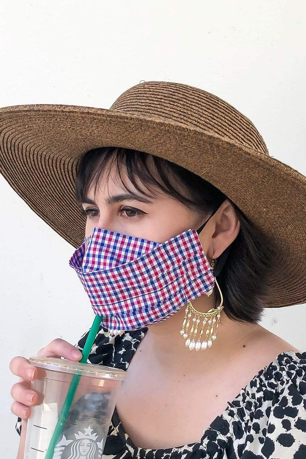 Safely Sip Mask in Mini Blue Checker