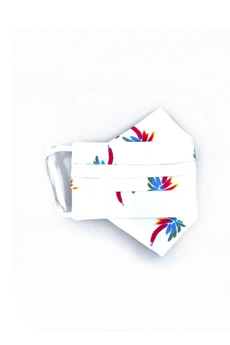 Safely Sip Mask in Rainbow Palms Print