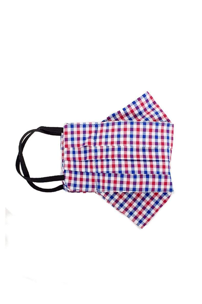 Safely Sip Mask in Red Navy Plaid