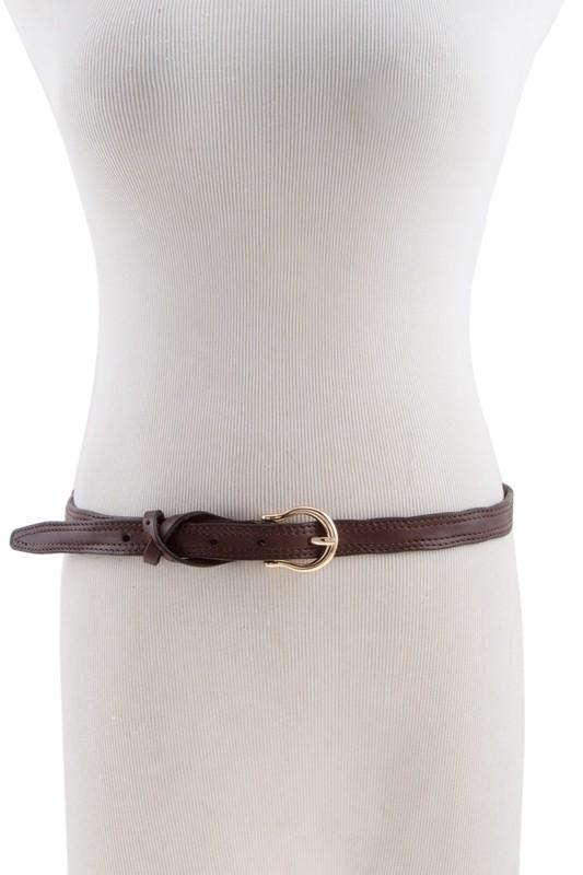 BELT Crossed Leather Belt Brown - Chloe Dao