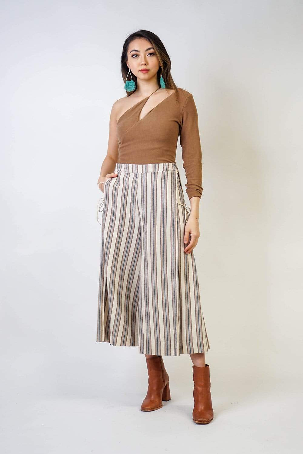 Bottoms Ivory Stripe Textured Culottes Set - Chloe Dao