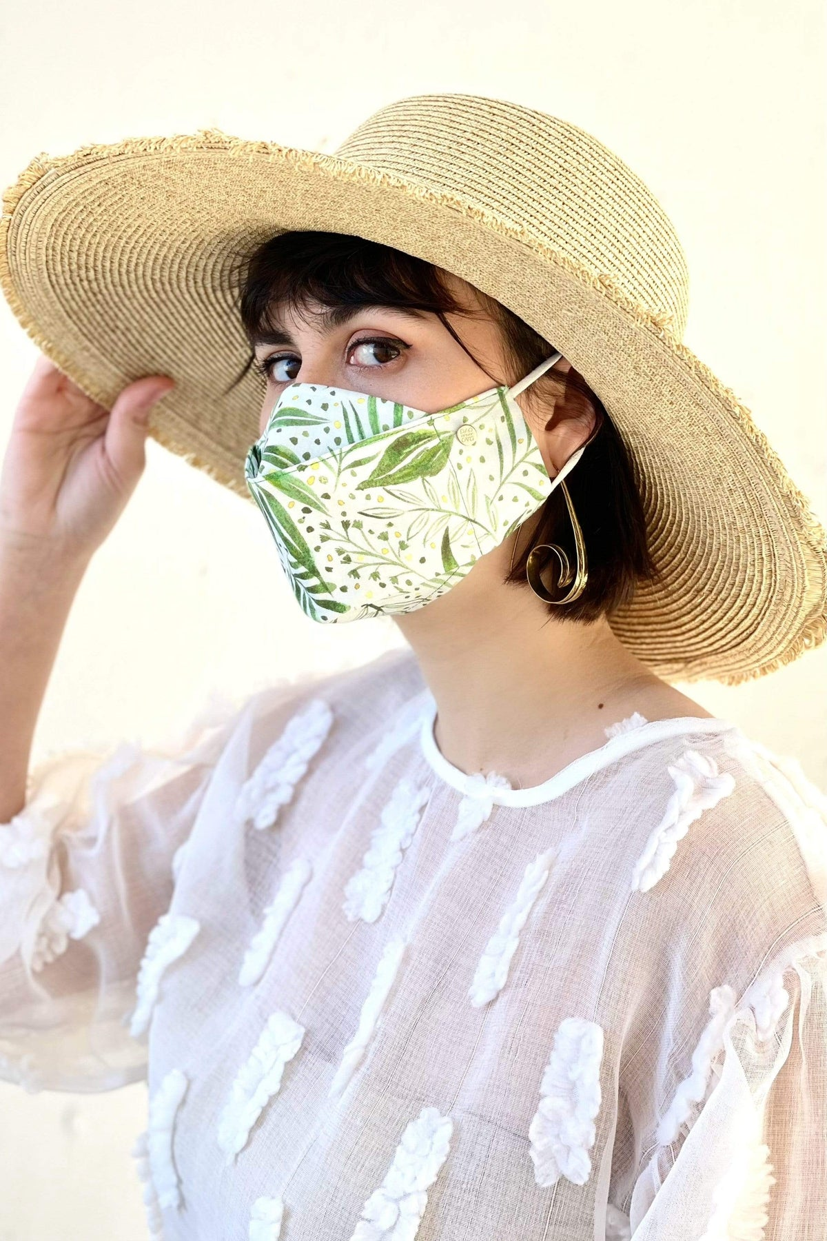 Box Pleated Face Mask Green Botanical Box Pleat Mask - Chloe Dao