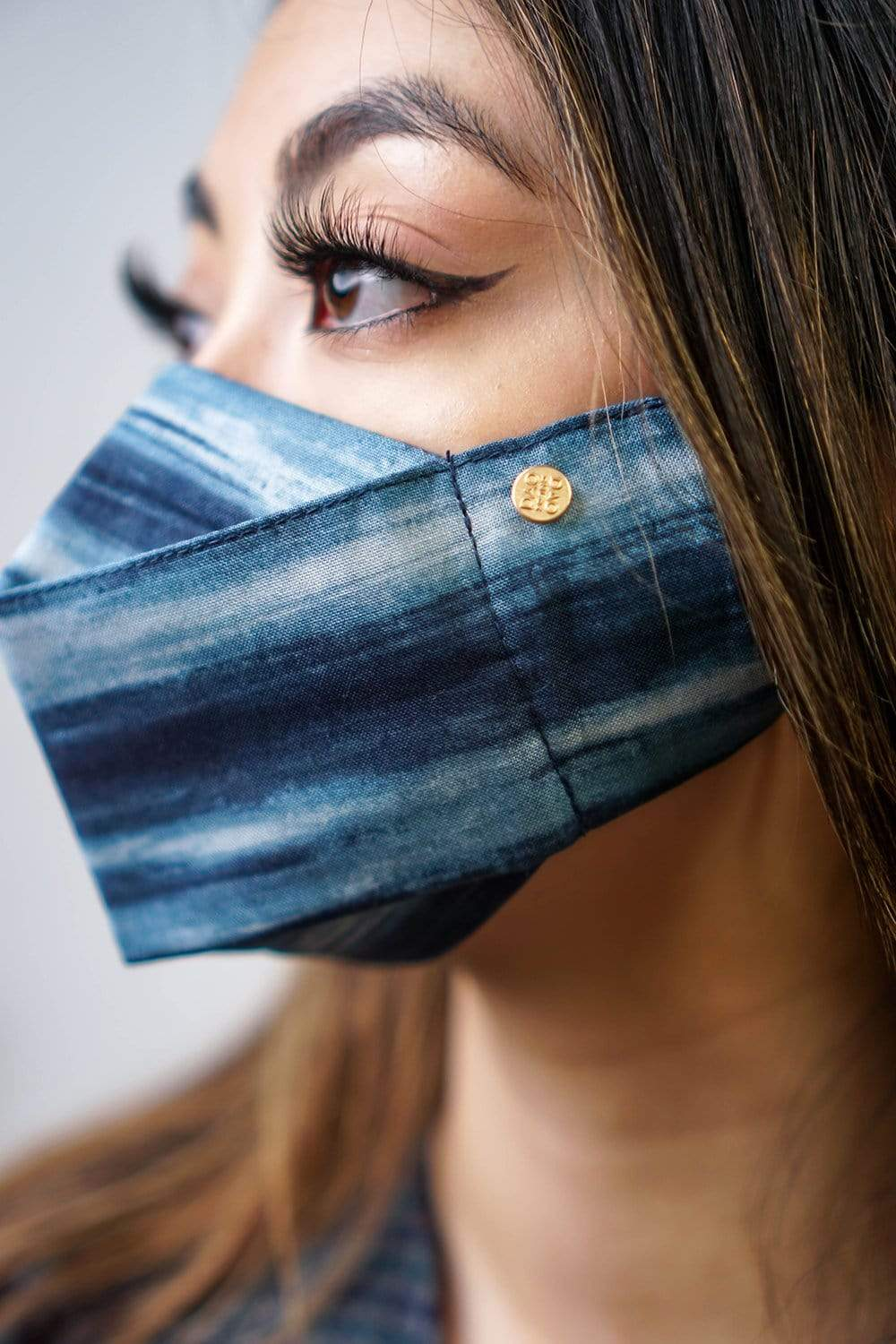 Box Pleated Face Mask Navy Brush Stroke(Box Pleated Mask with Filter Pocket) - Chloe Dao