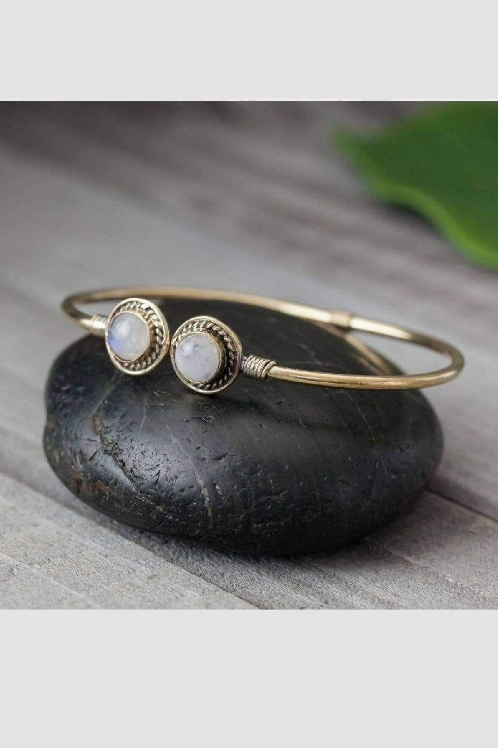 BRACELET Brass Double Stone Bangle Bracelet Moonstone - Chloe Dao