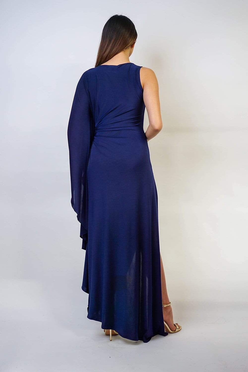 Navy High Slit Pleated Jersey Carolina Gown