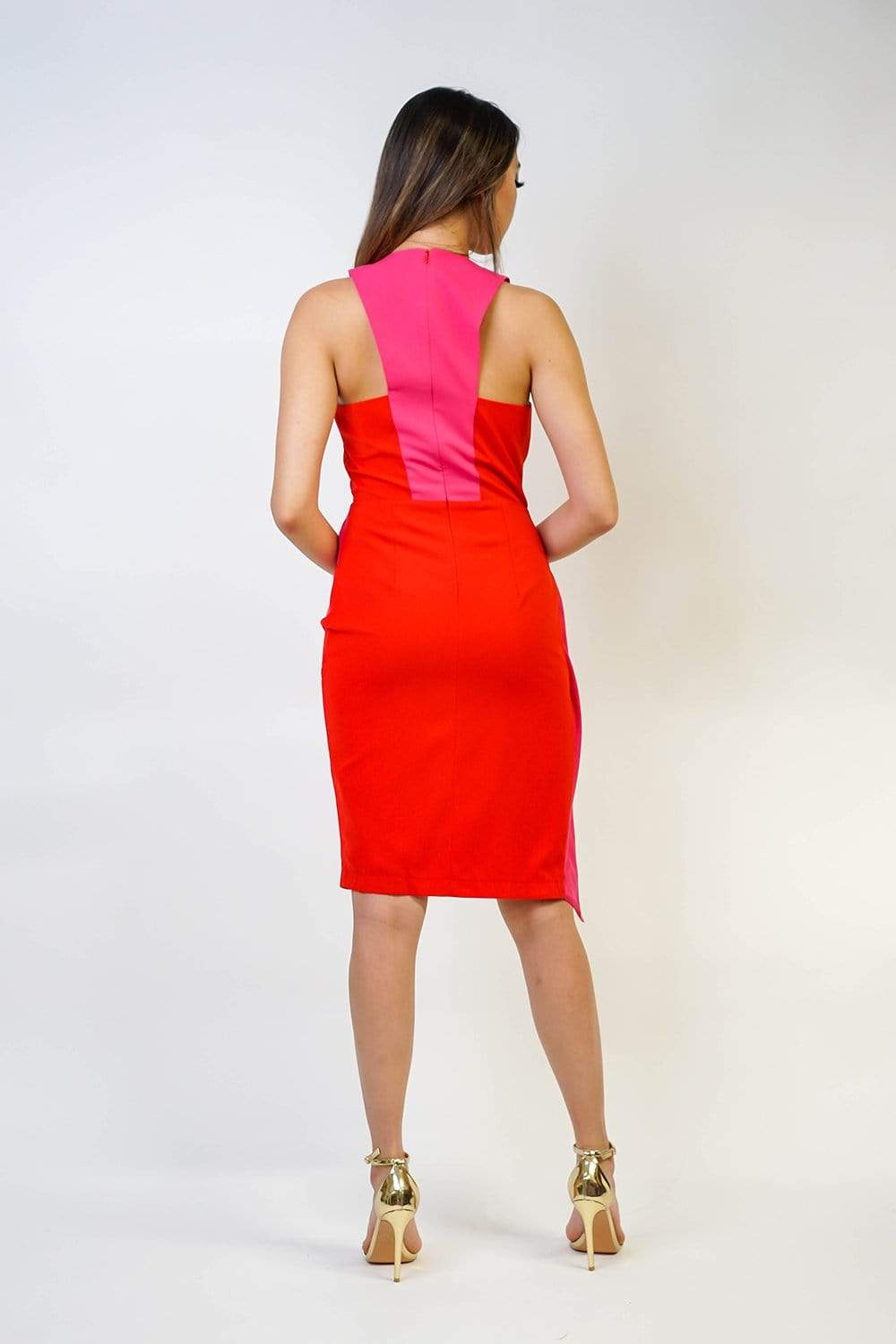 DRESS Pink/ Red Color Block Drape Cocktail Dress - Chloe Dao