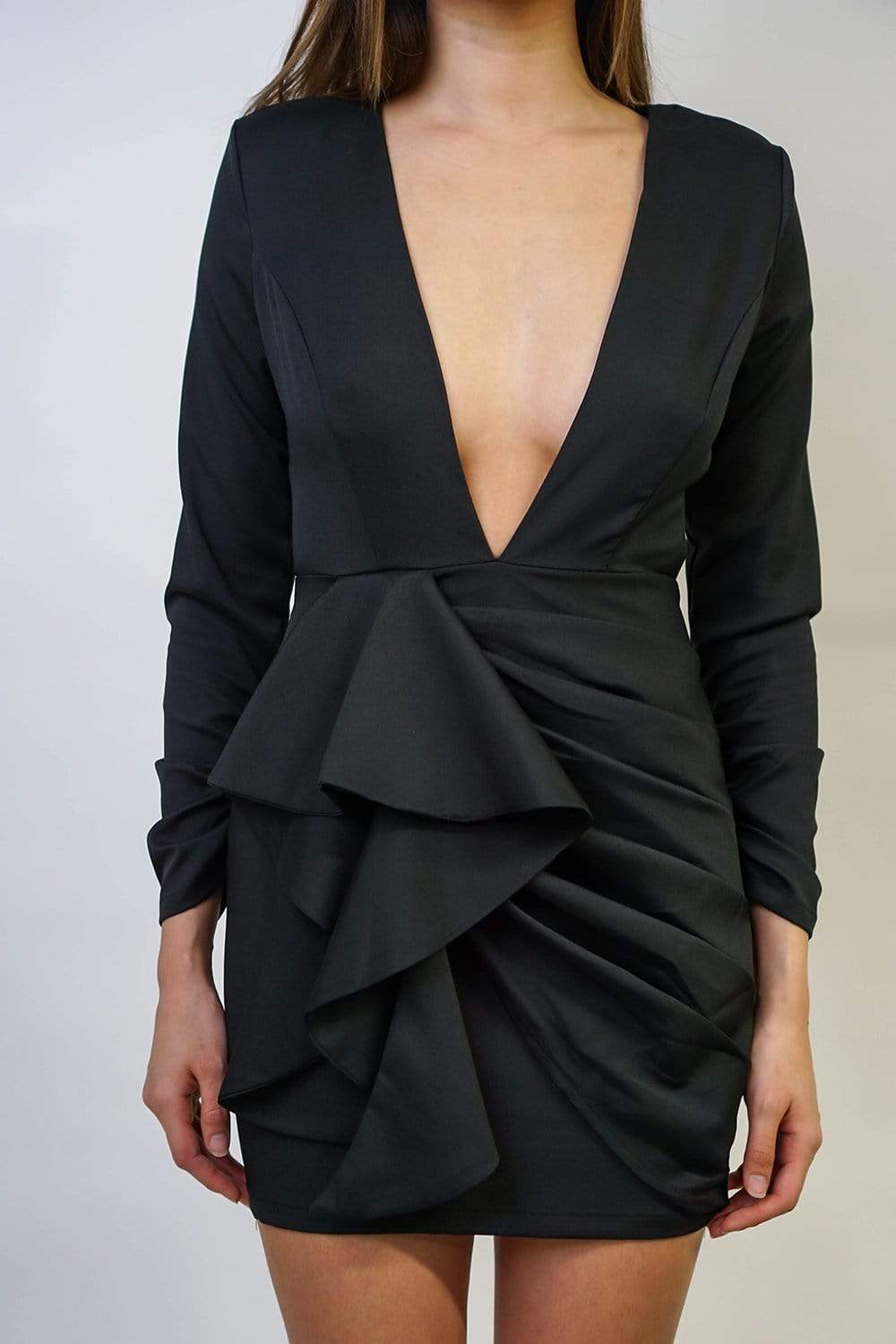 DRESS Deep V Neck Fitted Dress - Chloe Dao