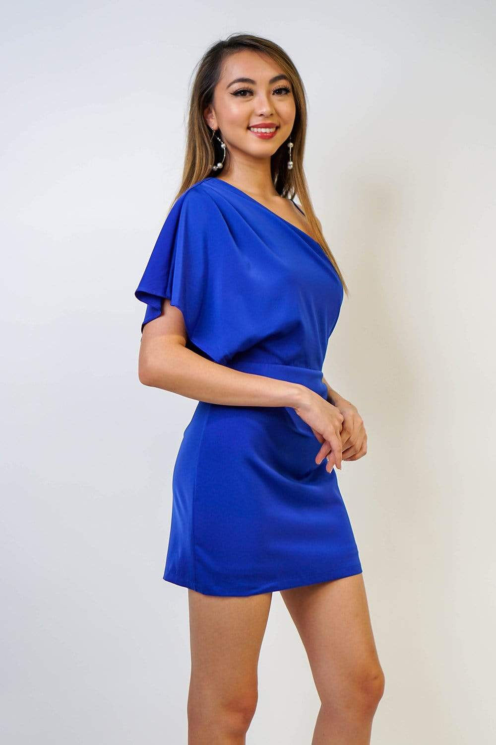 DRESS Dressy Cobalt Blue One Shoulder Satin Dress - Chloe Dao