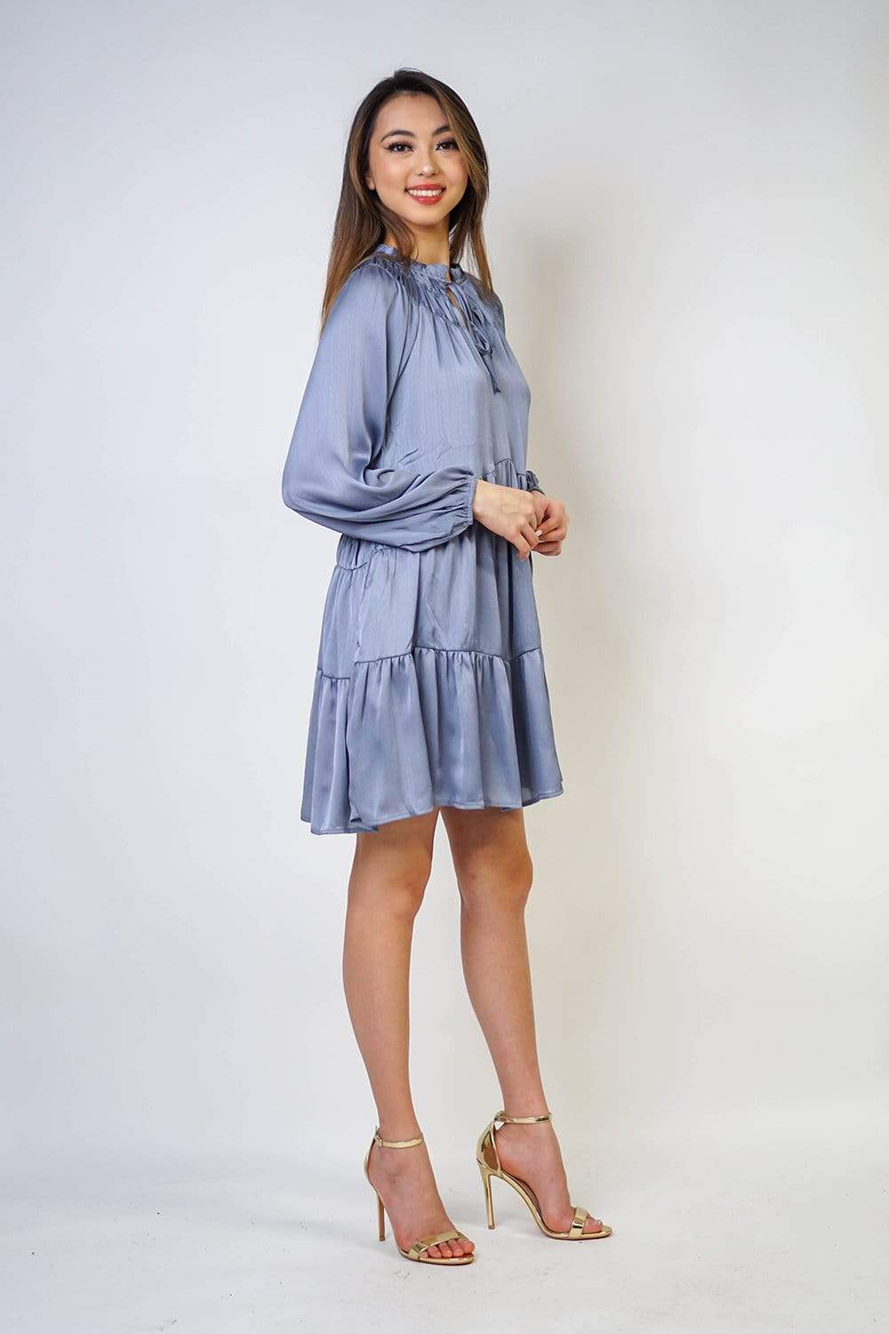 DRESS Key Hole Tie Front Smocking Shift Dress With Pockets - Chloe Dao