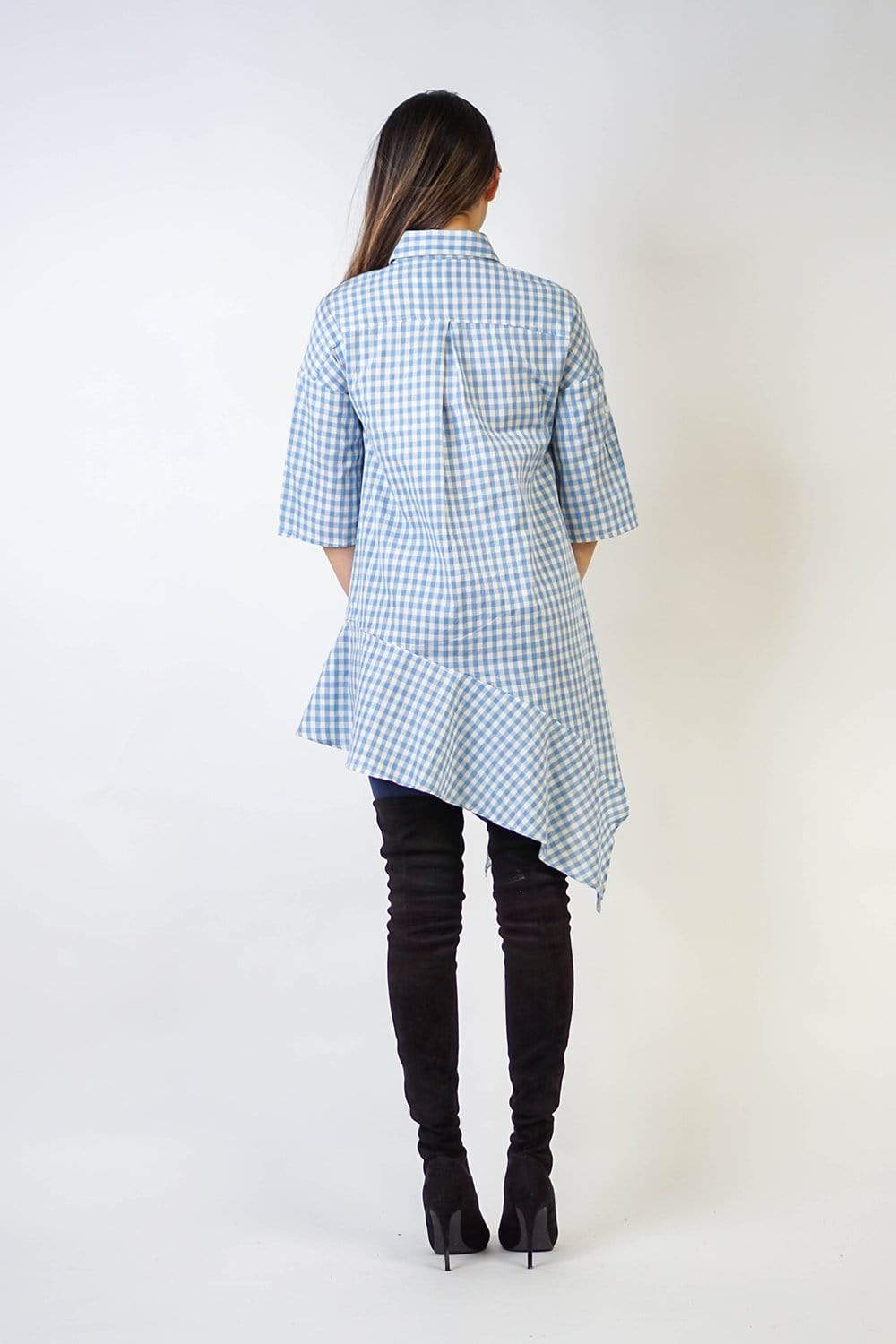 DRESS Light Blue Gingham Asymmetric Ruffle Shirt Dress - Chloe Dao