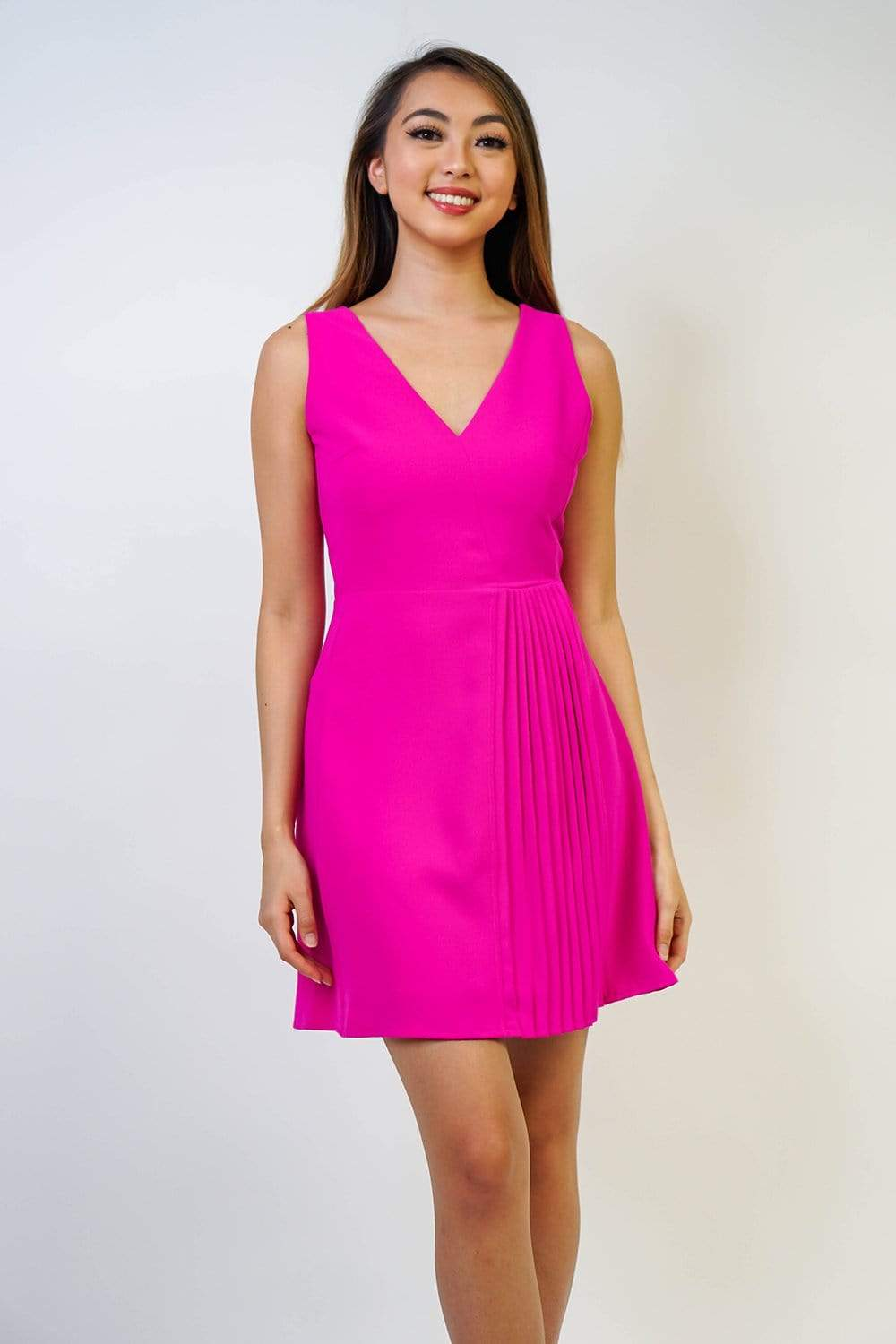 TCEC DRESS Magenta Vertical Pleat Detail Dress