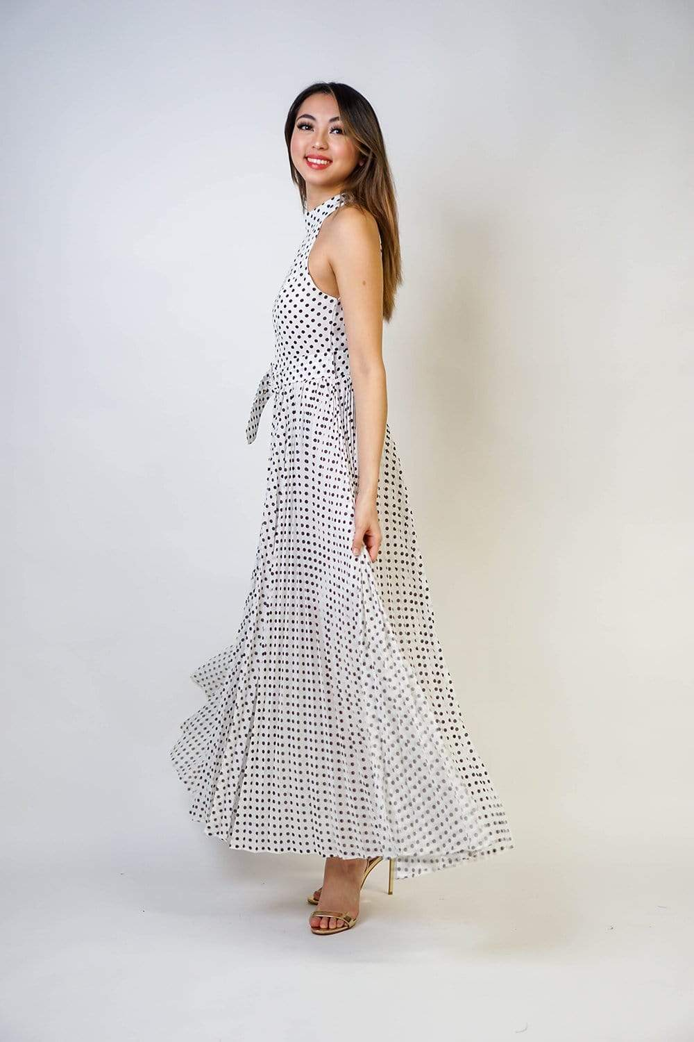 DRESS Polka Dot Halter Neck Maxi Dress - Chloe Dao