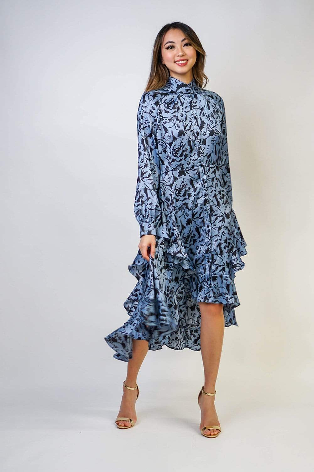 DRESS Ruffle Mandarin Long Sleeve Dress - Chloe Dao