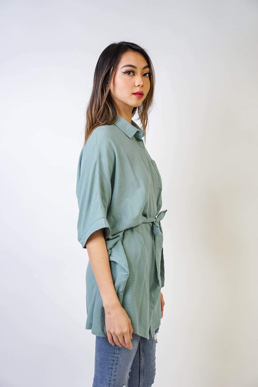 DRESS Sage Kimono Tunic With Sash - Chloe Dao