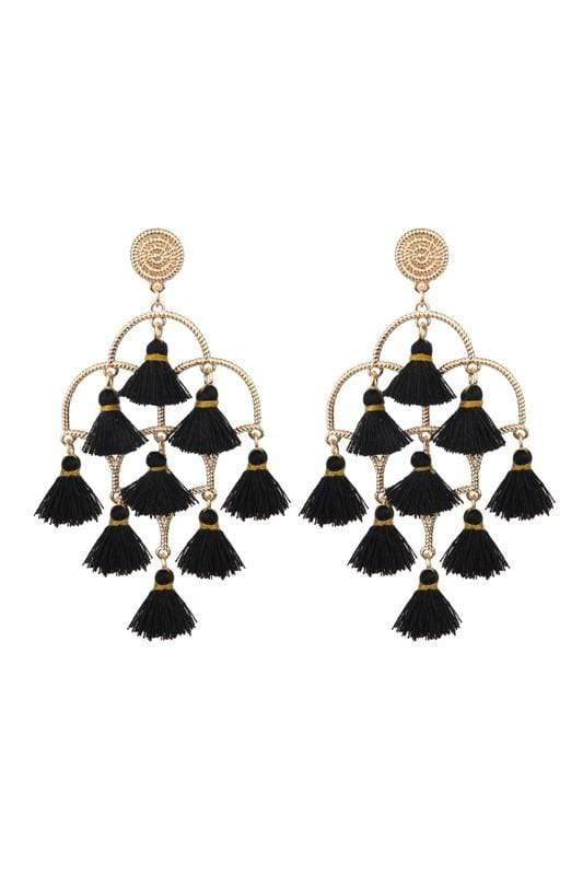 EARRING Tassel Chandelier Earrings Black - Chloe Dao
