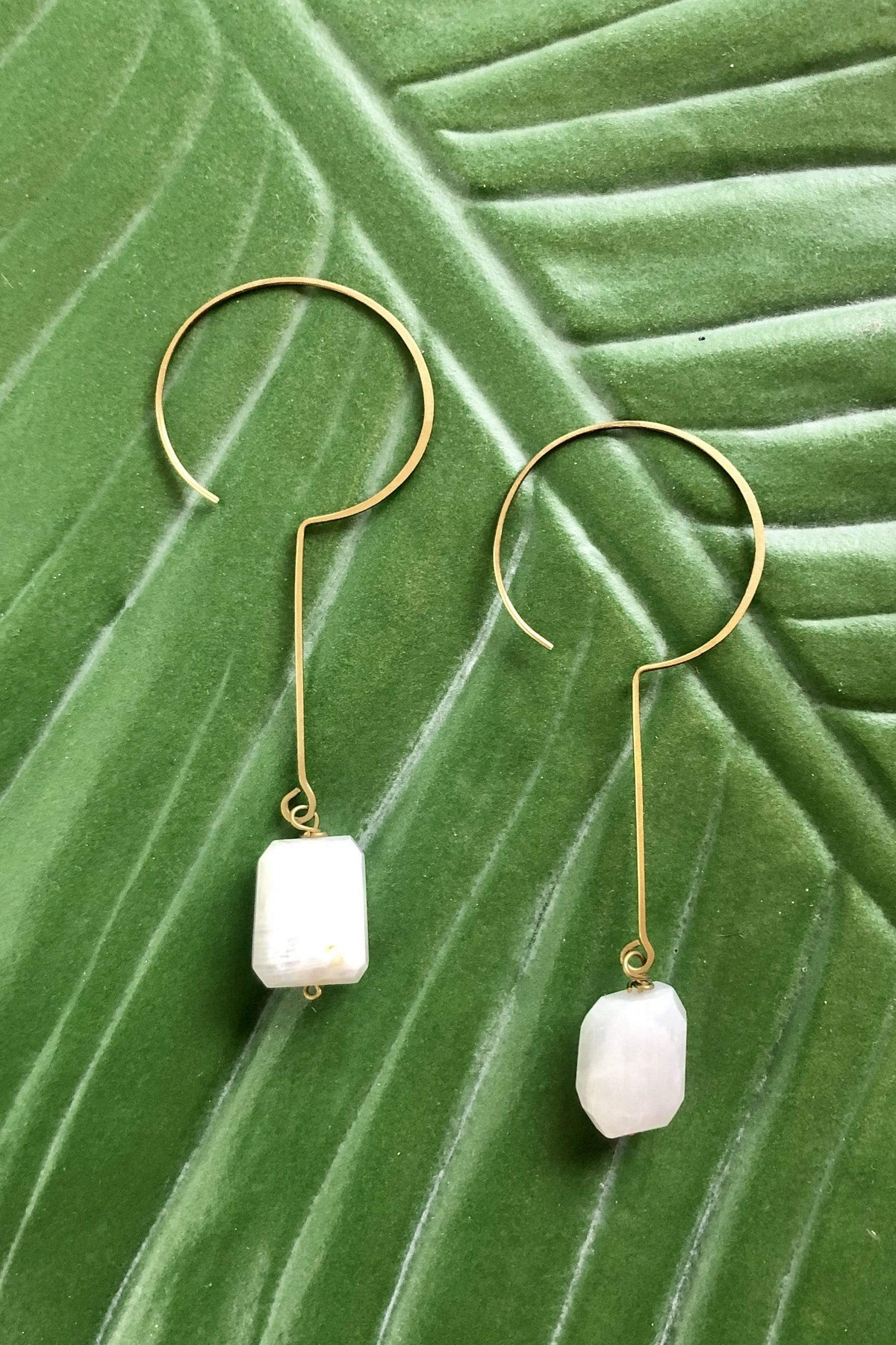 EARRING Brass Crescent Moonstone Earrings - Chloe Dao