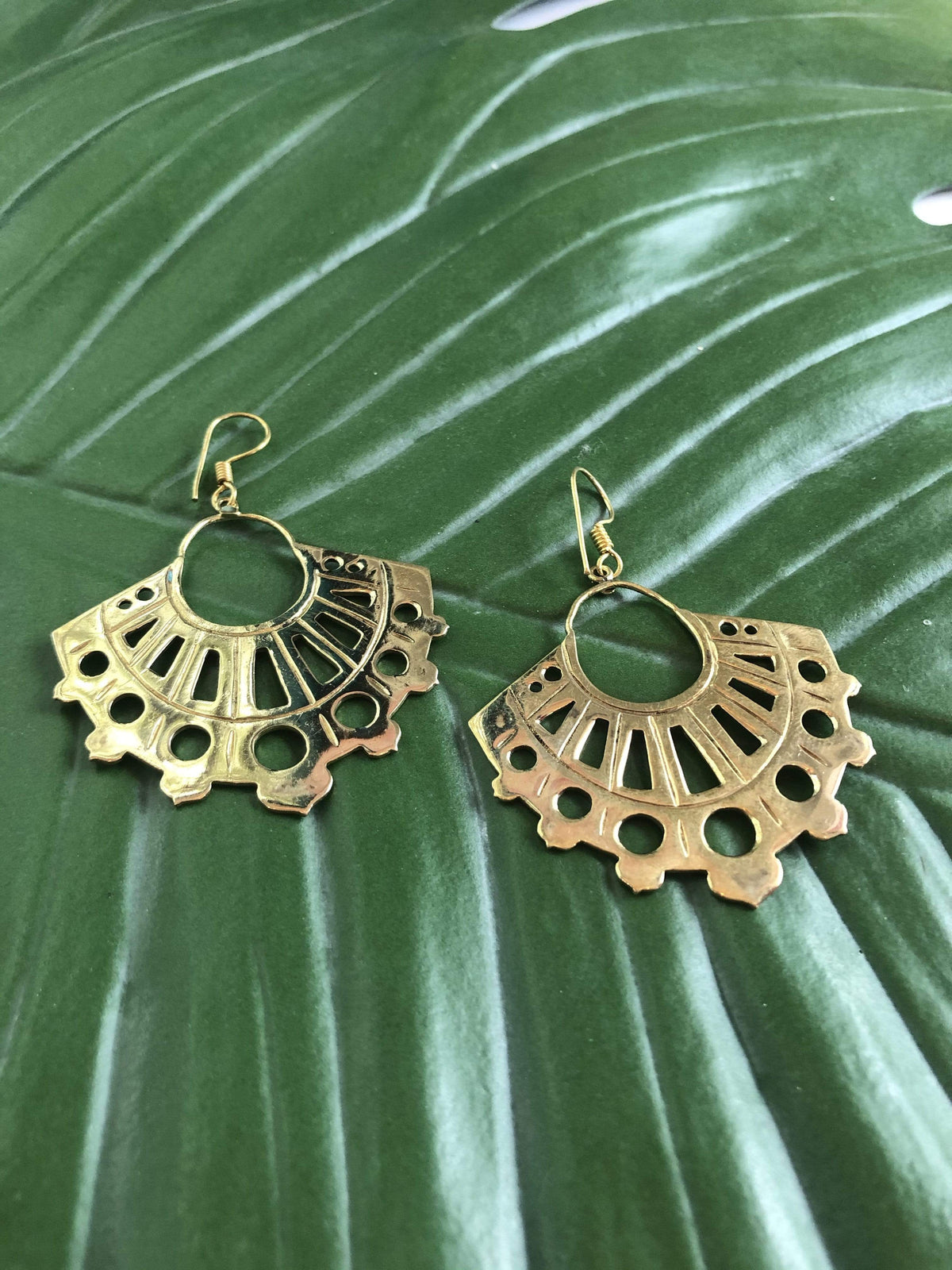 Brass Tribal Fan Earrings