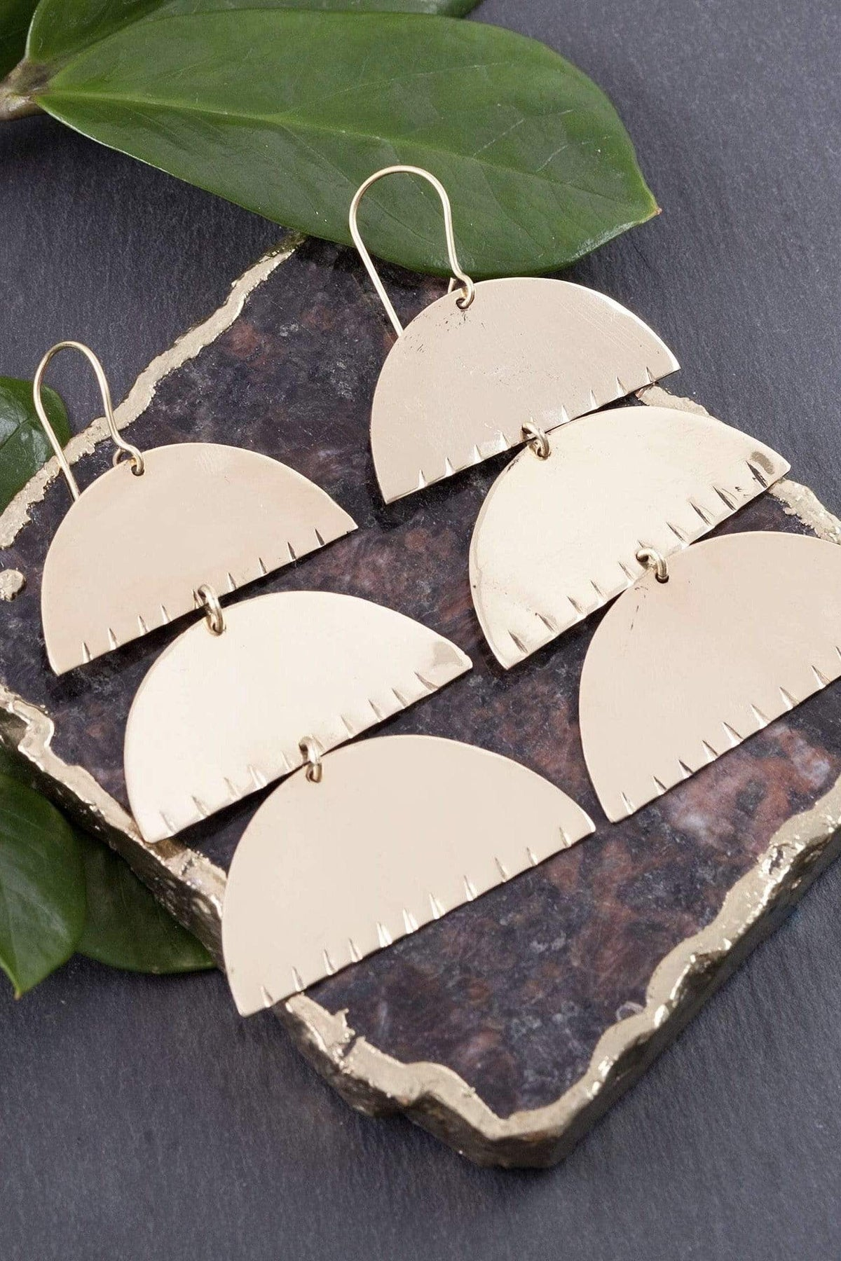 Brass Triple Half Moon Earrings