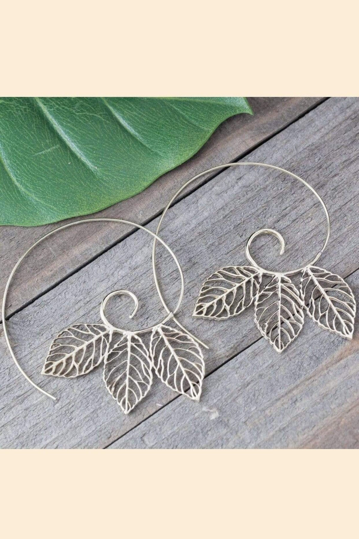 Baizaar EARRING Brass Triple Leaf Earrings