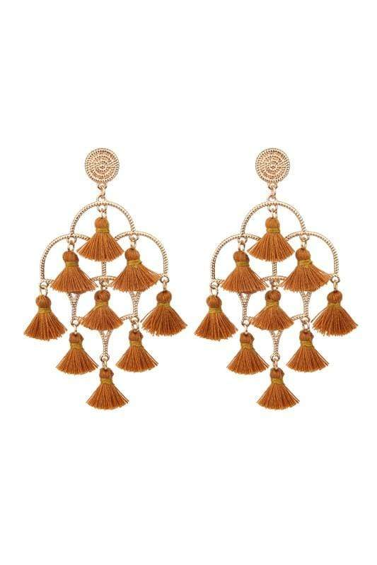 EARRING Tassel Chandelier Earrings Brown - Chloe Dao