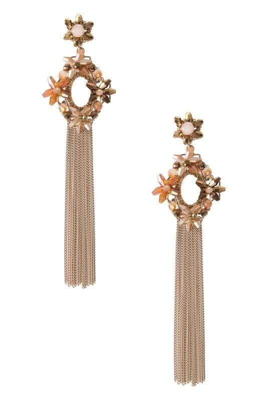 Ole EARRING Champagne Beaded Oval Fringe Earring