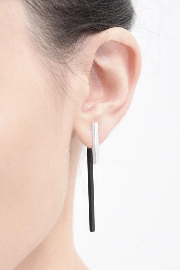 Forty-Sixty Ear Jackets Silver Black