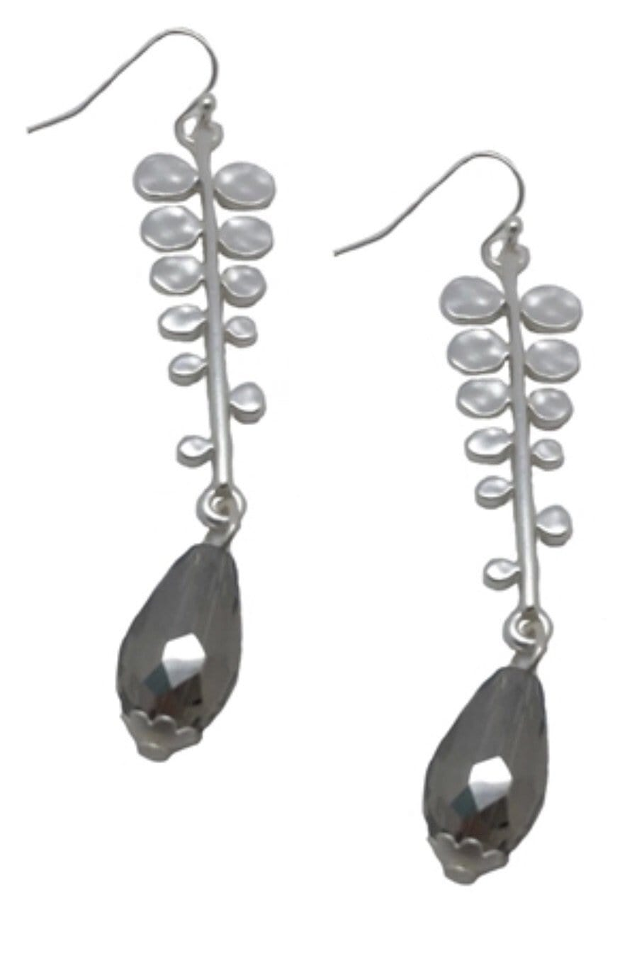 EARRING Grey Crystal Fern Earrings - Chloe Dao