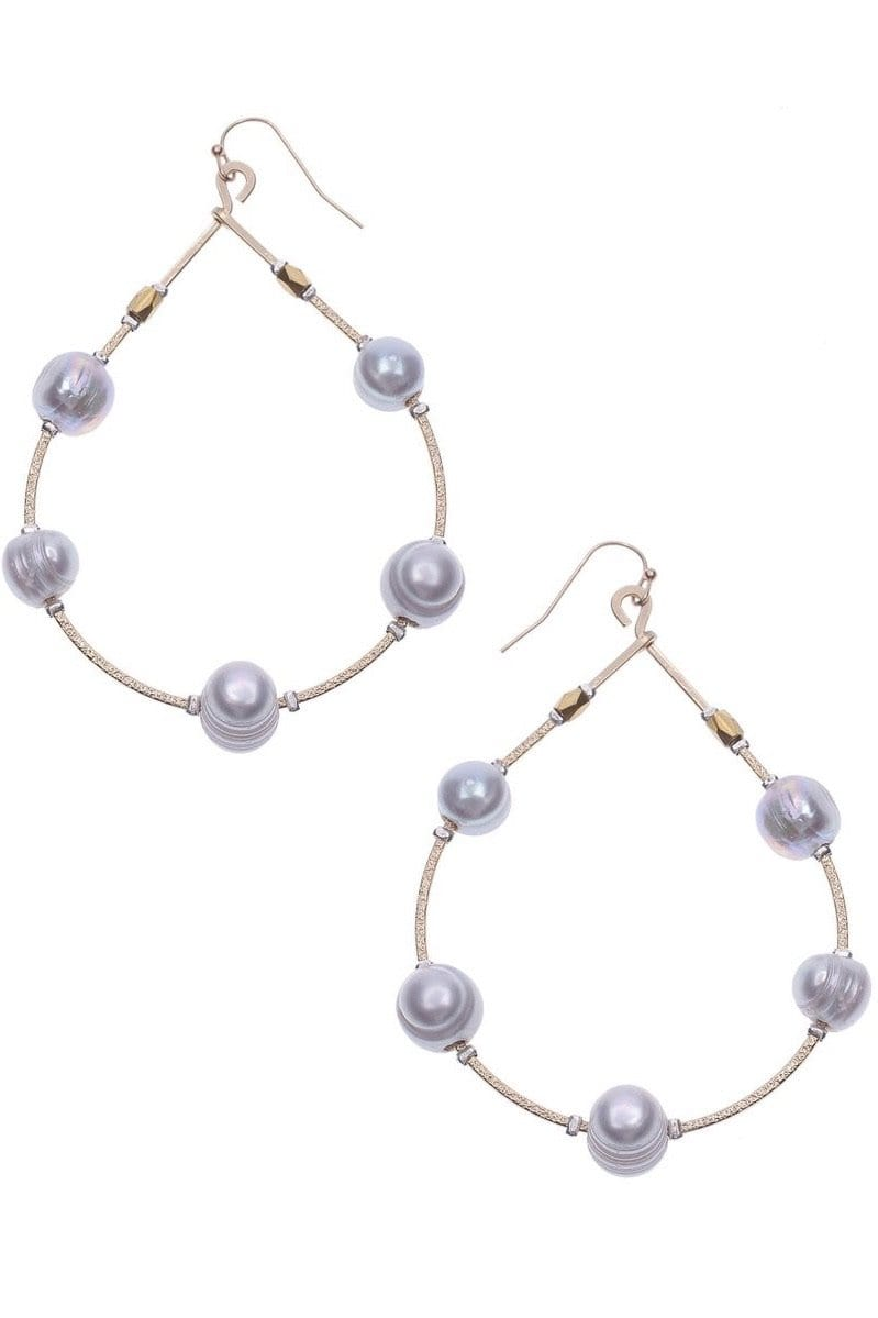 Grey Pearl Wired Hoop Earrings