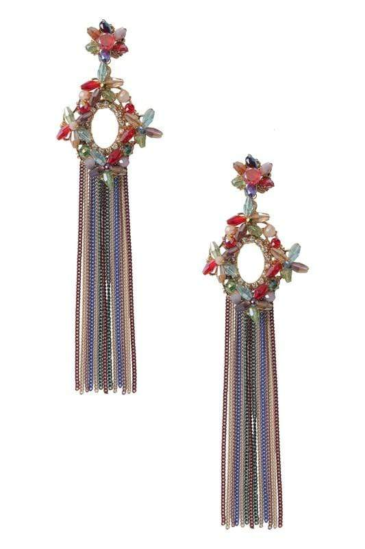 Ole EARRING Multi Beaded Oval Fringe Earring