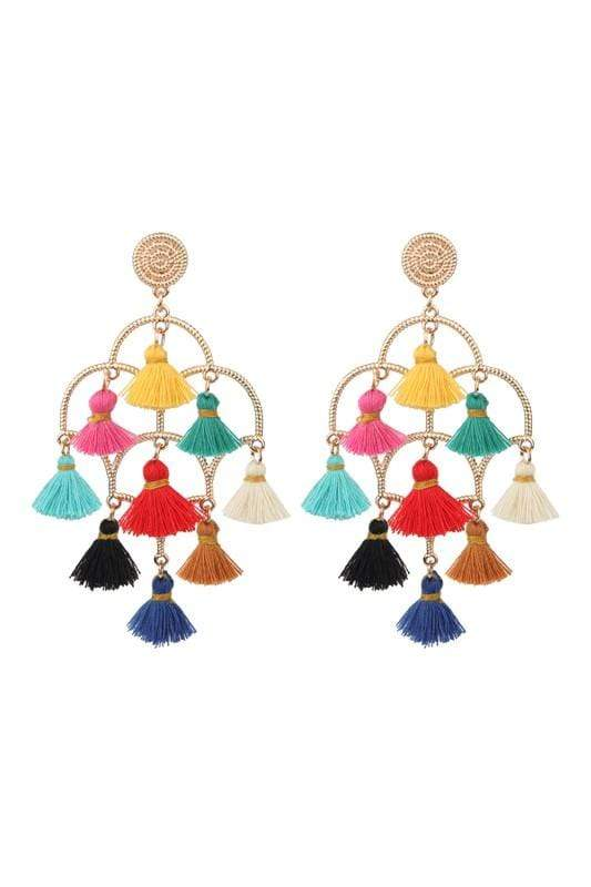 EARRING Tassel Chandelier Earrings Multi - Chloe Dao