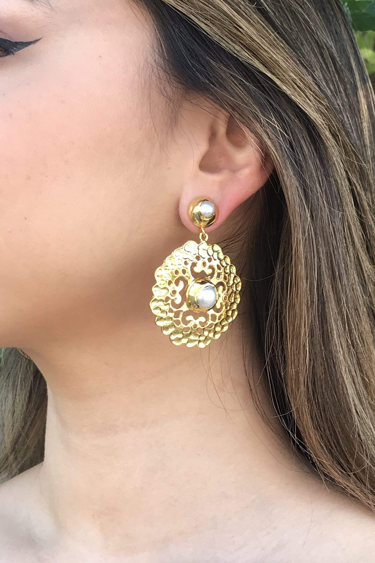 Ole EARRING Pearl Baroque Yellow Gold Earring