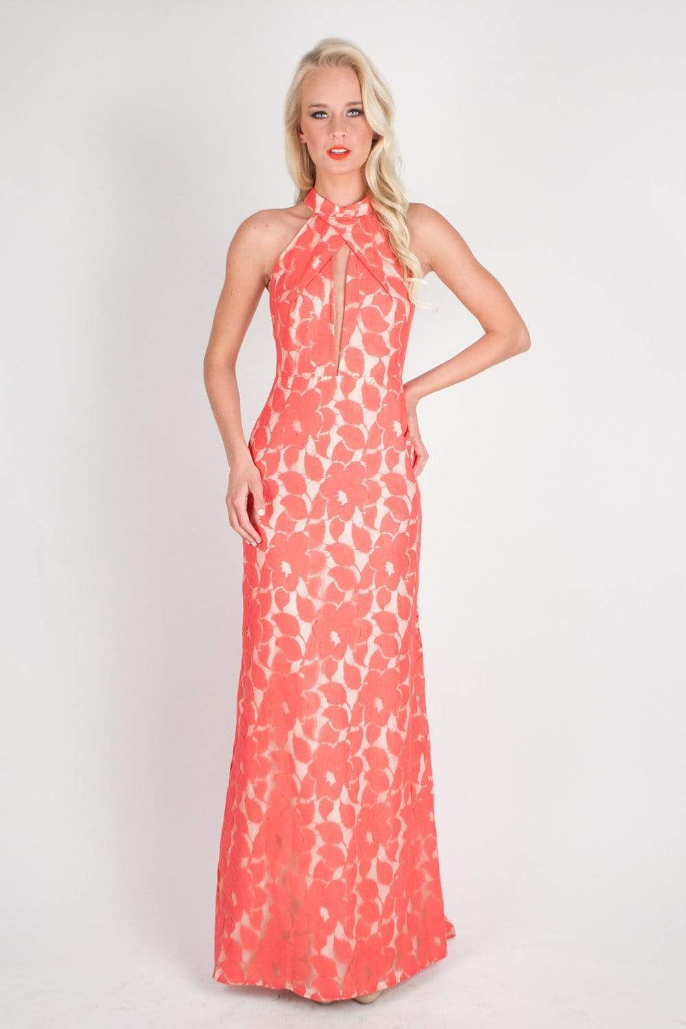 Ashley Floral Lace Gown Living Coral
