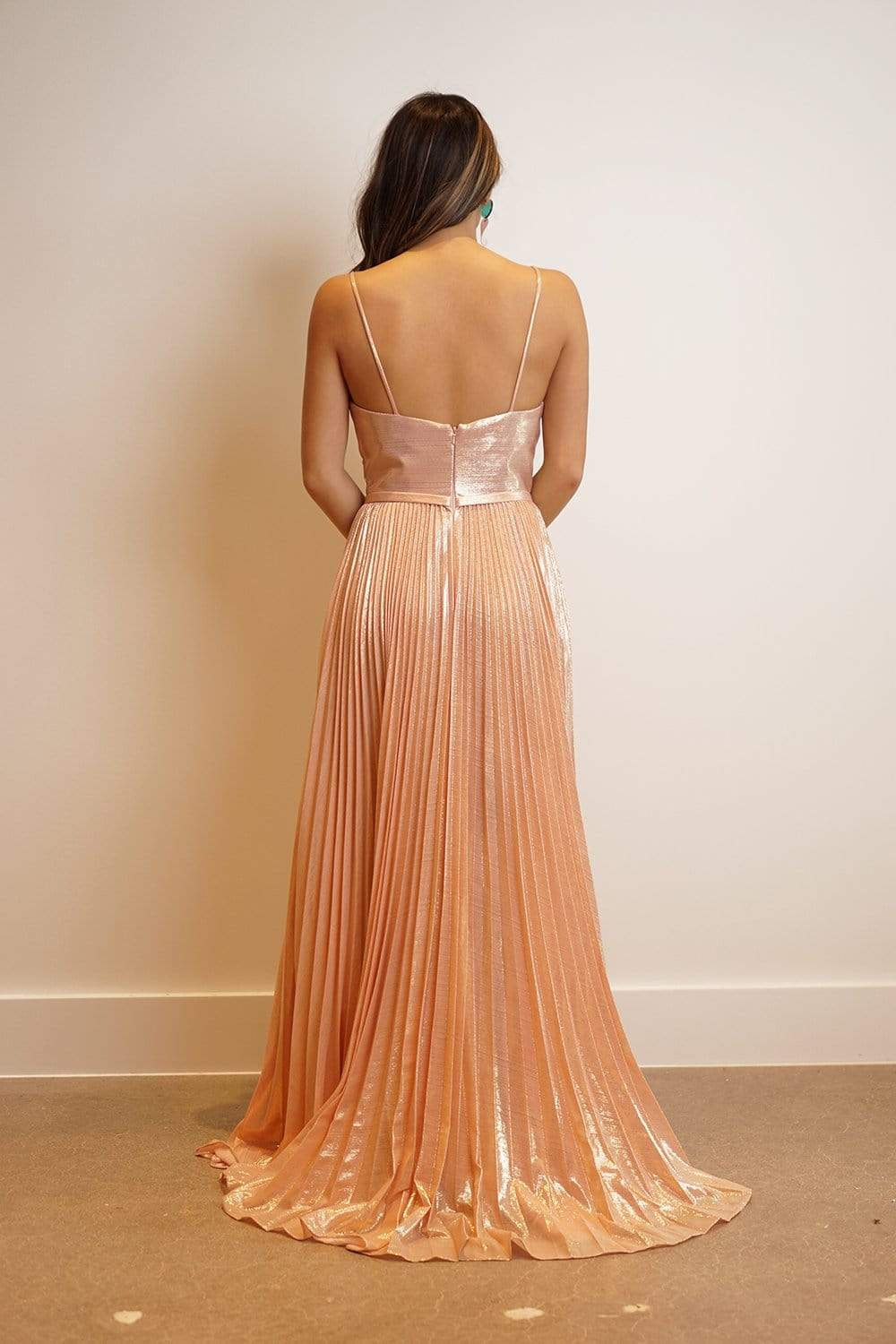GOWN Rose Gold Metallic Pleated Fit and Flared V Nk Gown - Chloe Dao